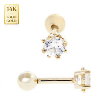 Helix Tragus Cartilage Earring Piercing 18G 14K Real Solid Gold Round Cz Stud