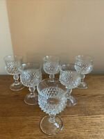"SET OF 6 Indiana Glass DIAMOND POINT CLEAR 5-1/4"" Wine Glasses; EUC!"