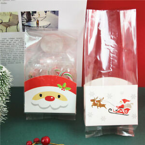 Clear Christmas Santa Claus Cello Cellophane With Gusset Favor Sweet Party Bags