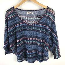 Hollister Knit Top Sweater Medium Large Printed Aztec Hi Low Stretch Tribal Blue