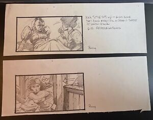 MIKE PLOOG (2) original storyboards YOUNG SHERLOCK HOLMES 1985 CONCEPT ART