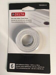 Delta Bath & Shower Safety Treads ~ White ~ Non-Slip Strips (6 in pack)