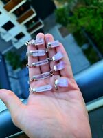 High Natural Terminated Rough Pink Kunzite Pendant in sterling Silver 925