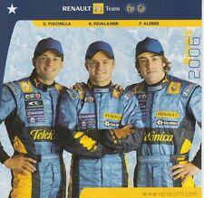 RENAULT Formula 1 PROMO CARD Fisichella, kovalainen, Alonso 2006 F1.