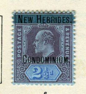 NEW HEBRIDES; 1908 early Ed VII Optd. issue Mint hinged 2.5d value