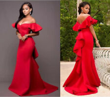 Sexy Long Red Mermaid Prom Dress Formal Evening Gown Party Cocktail Dress Custom