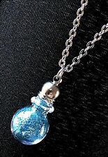"Glitter Dust Bottle Necklace-Mini Glass Potion Vial on 17"" Stainless Steel Chain"