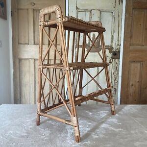 Vintage Unusual 3 Tier Bamboo Boho Tiki Free Standing Shelving Rack