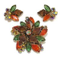 Juliana D&E Demi Parure Diamond Shaped Stone Book Piece Vtg Earrings Brooch Pin