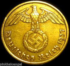 German 3rd Reich 1937A Gold Colored 10 Reichspfennig Coin World War 2