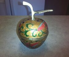 Vintage Cloisonne Painted Enamel Brass Apple Butterfly Lidded Trinket Box India
