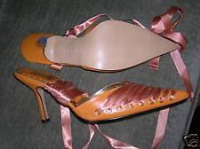Spanish Leather Shoes Heels Pumps 9 Orange w/Ribbon