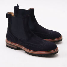 NIB $2350 KITON Navy Blue Suede Brogued Wingtip Ankle Boots US 8 Shoes