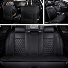 Durable 5-seat Car Seat Cover Rhombic Lattice Black PU Lether Cushion Protector