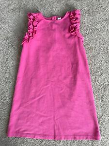 Girl's Size 10 Janie And Jack Pink Ruffle Dress Sleeveless Cotton Blend