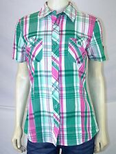 Ambiance Apparel Green Pink White Plaid Button Front Top Juniors Sz Large 11 13