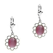 Pink Cats Eye Cabochon Oval Silver Dangle Fashion Earrings Grace Of New York