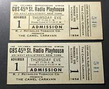 CAMEL CARAVAN (1934) 2 ORIG. RADIO SHOW TICKETS - R.J. REYNOLDS / CBS THEATER!