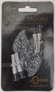 Royal Hooks, Decorative Brassware/ Pair of Black Leafs w/ Anchors & Screws..