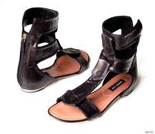 new $695 Derek Lam 'Kaia' black open-toe doubletab zip GLADIATOR shoes 6.5 Italy