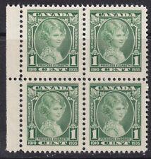 CANADA KGV 1935 SG335 1c GREEN SILVER JUBILEE MNH MARGINAL BLOCK OF FOUR