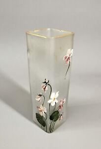 8735048 Glas-Vase Legras & Cie. Frankreich um 1900 Veilchendekor H19,5cm
