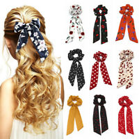 Boho Print Ponytail Scarf Bow Elastic Cloth Hair Rope Tie Ribbon Hair Bands NEW