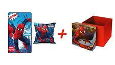 Spiderman Kissen & Fleece-Decke + Kinderhocker mit Aufbewahrungsfunktion Marvel