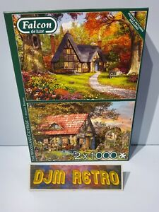 FALCON DE LUXE..THE WOODLAND COTTAGE...2 X 1000 Piece USED Jigsaw Puzzles.VGC