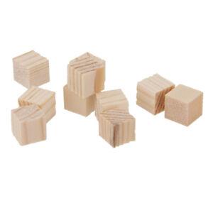 50x Natura Wooden Squre Blocks DIY Unfinished Blocks Scrapbooking 10x10x10mm