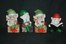 Vintage Homco Christmas Elves Decorations Figurines Lot of 3