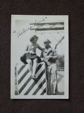 SOLDIER WITH WOMAN WHOSE SKIRT IS PULLED ABOVE KNEES - UP SKIRT VTG 1940's PHOTO