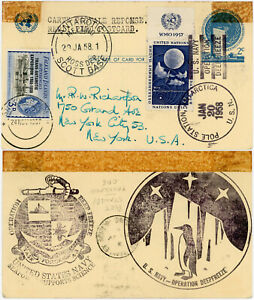 ANTARCTIC 1958 MULTI DATED UN REPLY CARD SHACKLETON + SCOTT BASE + POLE STATION