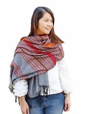Stripe Scarf Shawl Wrap Thai Silk Cotton Scarves Long Gray Pashmina Cape Cover