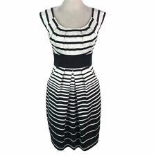 Max & Cleo Sateen White Black Striped Side Pockets A Line  Dress Womens 4 New