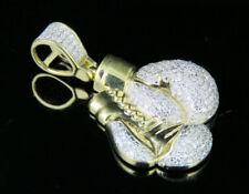 "Men's 10K Yellow Gold Genuine Diamond Boxing Gloves Pendant Charm 1/2 Ct 1.25"""