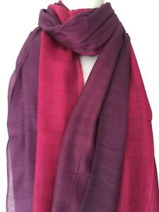 Pink Scarf Ladies Cotton Blend Purple Layered Wrap Fair Trade Reversible Shawl