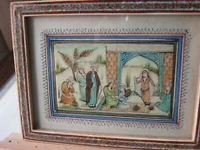 Small framed water-colour ethnic indigenous painting from India