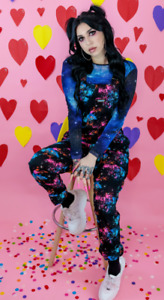 Run & Fly 80's/90's style oversized black twill galaxy patterned dungarees