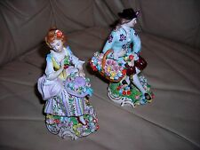 FABULOUS FAIR OF ORNATE ANTIQUE 1900 DRESDEN SITZENDORF FIGURINES 6X4X4