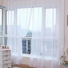 Puerta ventana balcon sala blanca de tul drapeado cortina panel Sheer bufanda OP