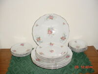 "16-PC BAVARIA GERMANY ""FLORAL"" DINNERWARE SET/PINK FLOWERS-SILVER TRIM/FREE SHIP"