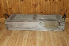 Vintage Ammo Box Crate Large Storage Bin Wood Wooden Military Collectible