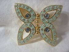Pin Brooch Golden Metal Brand New Butterfly Enamel Paint Blue Crystal Rhinestone