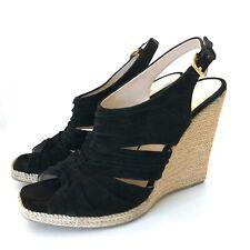 Prada Schuhe Keilabsatz Sandalen Schwarz 39 Velours Leder Wedges Black Dust Bag