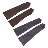Women Genuine Sheep Leather Touch Screen Winter Long Elbow Evening Gloves 15.5in