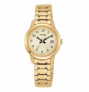 PULSAR PH7030 LADIES GOLD TONE CHAMPAGNE Stainless Steel Quartz Watch