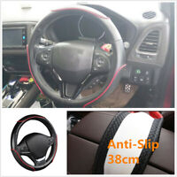 Car Steering Wheel Cover Sporty Wave Pattern W/ Red Line Accessories Car-styling