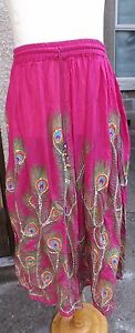Long hippy skirt with peacock feather design hippy new age skirt peacock design