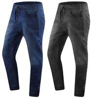 New Men Denim Jogger Pants Quilted Back Pockets Black Blue Elastic Sizes S-2XL